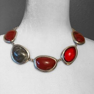 Chunky Multicolored Stones Necklace Silver Chain